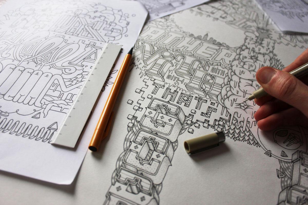 Hand-drawn MF DOOM Typog-RAP-hy lettering details.